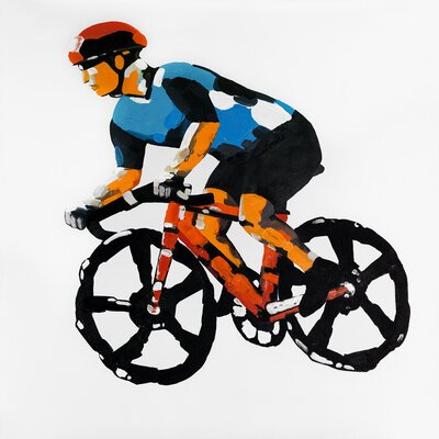 'Abstract Cyclist in Action' Oil Painting Print on Wrapped Canvas 1009-3636-SP30