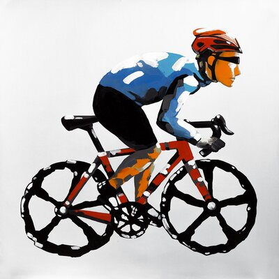'Abstract Cyclist' Oil Painting Print on Wrapped Canvas 608FB3F24C6C4C6E964290D005815F99