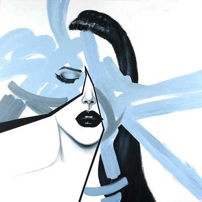 'Abstract Blue Woman Portrait' Oil Painting Print on Wrapped Canvas 1009-3636-FI28