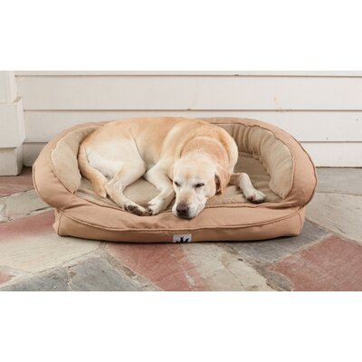 EZ Wash Fleece Headrest Dog Bed with Memory Foam Size: Small (33 L x 22 W), Color: Tan
