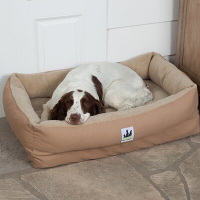 EZ Wash Fleece Lounger Dog Bed with Memory Foam Size: Large (48 L x 32 W), Color: Tan
