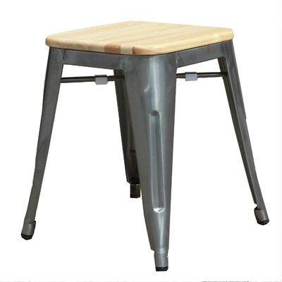 Lugowe Mini 18 Bar Stool with Wood Seat