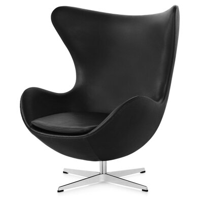 Quarterman Swivel Lounge Chair Upholstery: Black leather