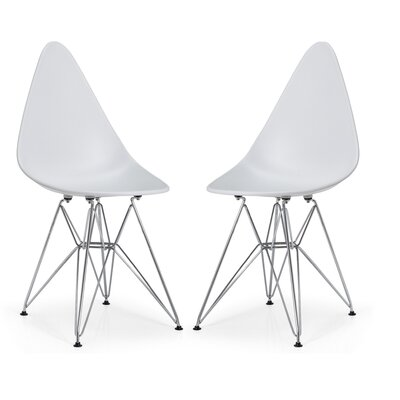 McPhee Dining Chair Color: White/Chrome