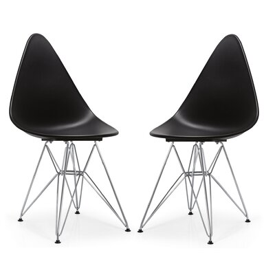 McPhee Dining Chair Color: Black/Chrome