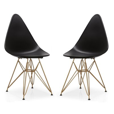 McPhee Dining Chair Color: Black/Gold