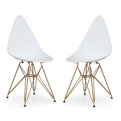 McPhee Dining Chair Color: White/Gold