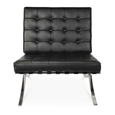 Bovee Cross Slipper Chair Leather Type: Black