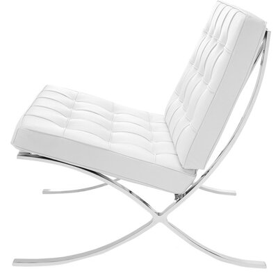 Bovee Cross Slipper Chair Leather Type: White
