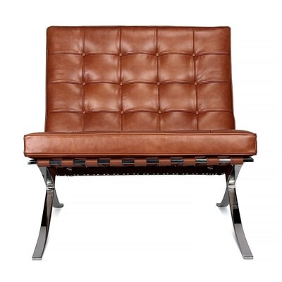 Bovee Cross Slipper Chair Leather Type: Brown