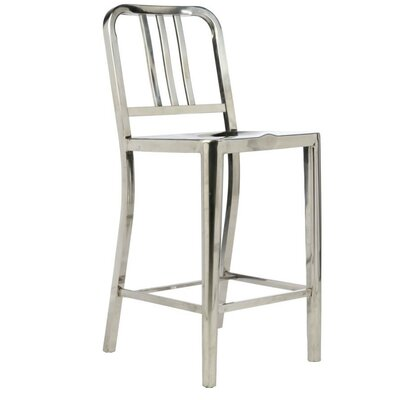 Falcone 39 Bar Stool Color: Brushed Stainless steel