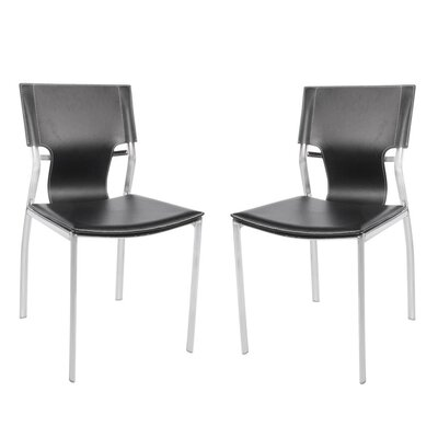 Poplin White Upholstered Dining Chair Color: Black