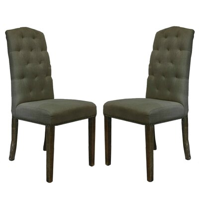 Lorinda Classic Upholstered Dining Chair Upholstery Color: Dark Gray