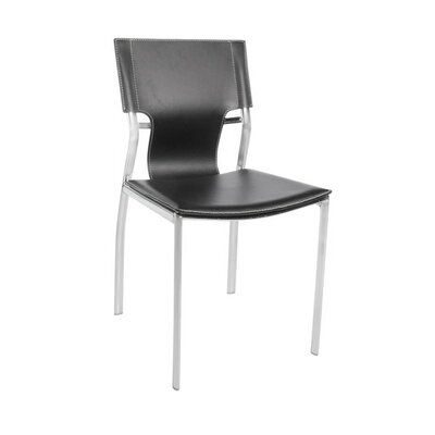 Brucker Leather Upholstered Dining Chair Color: Black