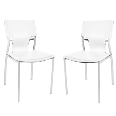 Poplin Upholstered Dining Chair Color: White