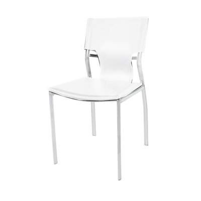 Brucker Leather Upholstered Dining Chair Color: White