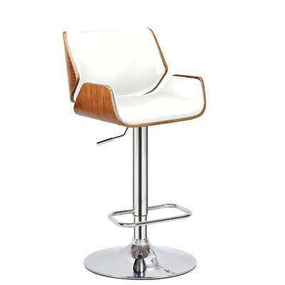 Madalynn Adjustable Height Swivel Bar Stool Color: White, Set Of: Set of 1