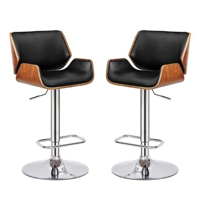 Madalynn Adjustable Height Swivel Bar Stool Color: Black, Set Of: Set of 2