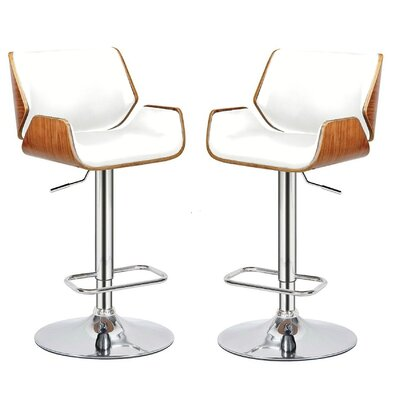 Madalynn Adjustable Height Swivel Bar Stool Color: White, Set Of: Set of 2