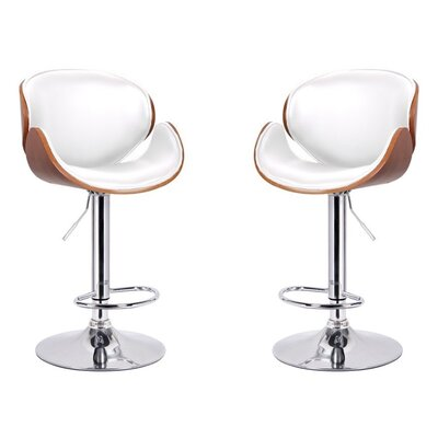 Dayana Adjustable Height Swivel Bar Stool Color: White