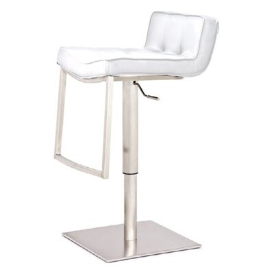 Burling Adjustable Swivel Bar Stool Color: White