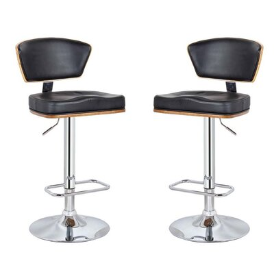 Mikaela Adjustable Height Swivel Bar Stool Color: Black, Set Of: Set of 2