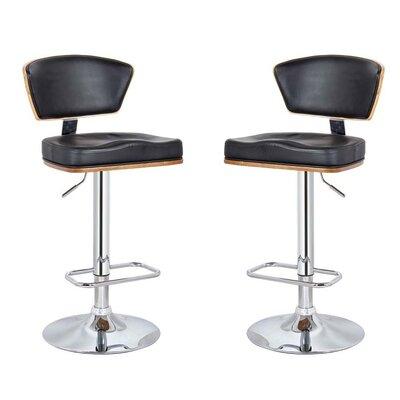 Mikaela Adjustable Height Swivel Bar Stool Color: Black, Set Of: Set of 2