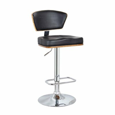 Mikaela Adjustable Height Swivel Bar Stool Color: Black, Set Of: Set of 1