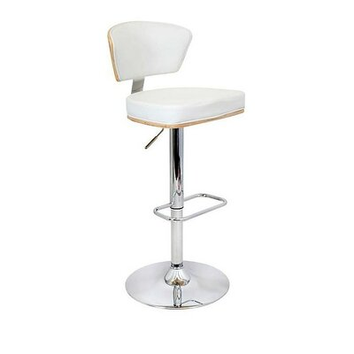 Mikaela Adjustable Height Swivel Bar Stool Color: White, Set Of: Set of 1