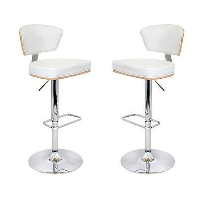 Mikaela Adjustable Height Swivel Bar Stool Color: White, Set Of: Set of 2