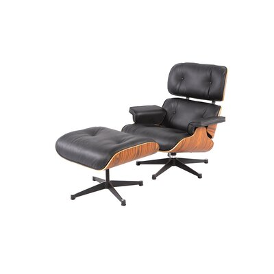 Wiebe Lounge Chair Leather Type: Black
