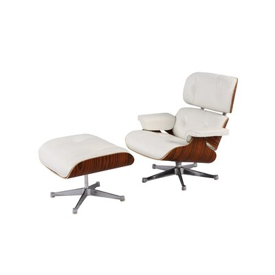 Wiebe Lounge Chair Leather Type: White