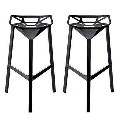 Roderick 30 Bar Stool Color: Black, Set Of: Set of 2