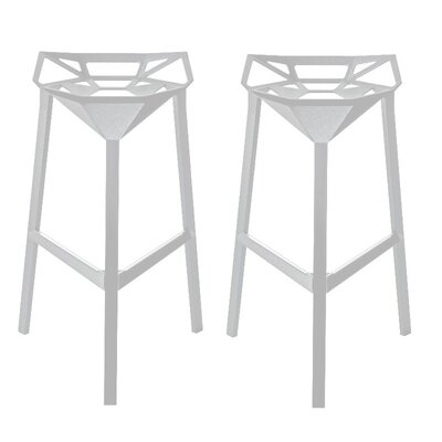 Roderick 30 Bar Stool Color: White, Set Of: Set of 2