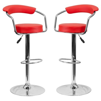 Park Place Modern Adjustable Height Bar Stool Color: Red
