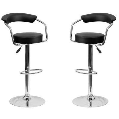 Park Place Modern Adjustable Height Bar Stool Color: Black