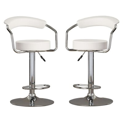 Park Place Modern Adjustable Height Bar Stool Color: White