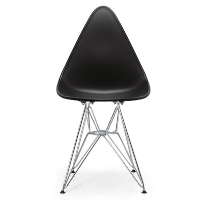 McPhee Solid Back Dining Chair Color: Black/Chrome