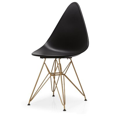 McPhee Solid Back Dining Chair Color: Black/Gold