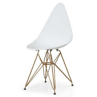 McPhee Solid Back Dining Chair Color: White/Gold