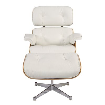 Sandiford Mid Century Lounge Chair and Ottoman Upholstery: White