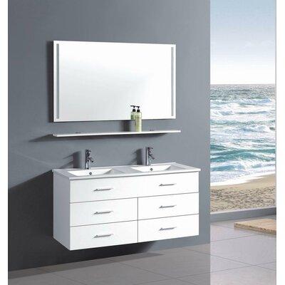 48 Double Bathroom Vanity Set Base Finish: White