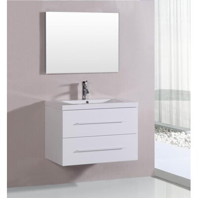 32 Single Bathroom Vanity Set Base Finish: White