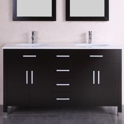 60 Double Modern Bathroom Vanity Set