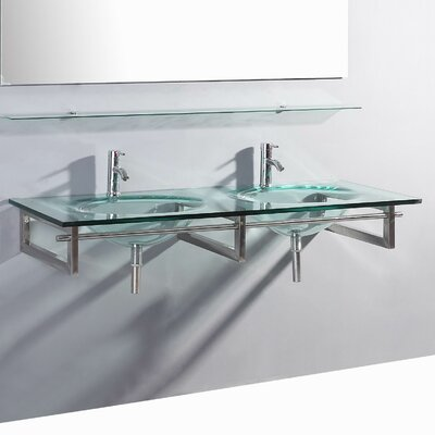 Signature Series Wall Mounted Glass 55 Double Bathroom Vanity Set