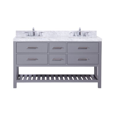 Kennebunk 60 Double Bathroom Vanity Set Base Finish: Gray