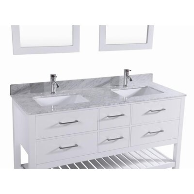 Kennebunk 60 Double Bathroom Vanity Set Base Finish: White