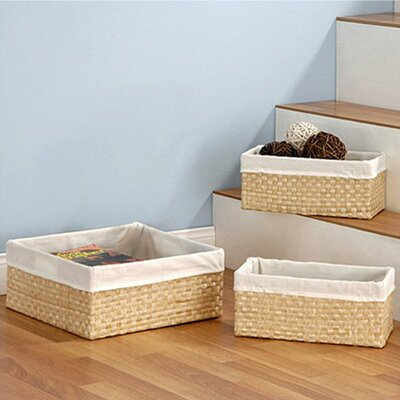 3 Piece Seagrass Storage Basket Set