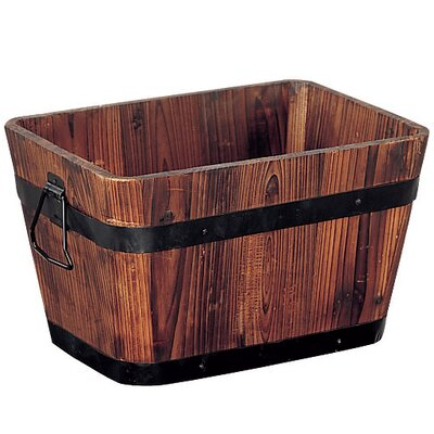 Wood Barrel Planter 83164W-2