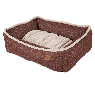 Lambswool Tooled Leather Printed Lounger Bolster Dog Bed